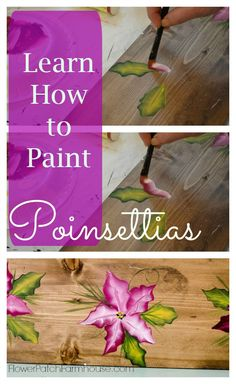 Learn How to Paint Poinsettias one stroke at a time, FlowerPatchFarmhouse.com
