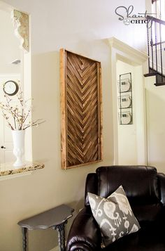 Wall Art DIY with Wood Shims - perfect for the little wall in the foyer I was looking to do something with