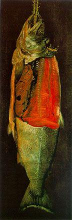高橋由一「鮭図」 明治11年(1878)頃 油彩・キャンバス 129.0×37.0cm  山形美術館所蔵