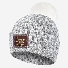 9ad1c9321cb Navy Speckled Pom Beanie (Red Maple Gold Foil Patch). Love Your Melon ...