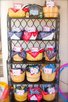 general store baskets, kids use fake money earned by playing games! {cowboy party}