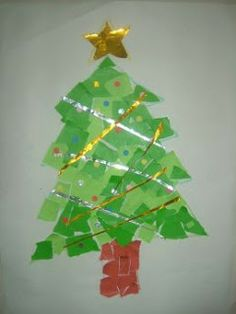 Preschool Crafts for Kids*: Super Easy Christmas Tree Collage Paper Craft