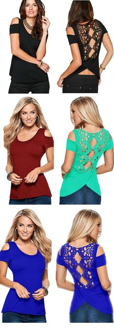 Hollow Out Short Sleeve Off Shoulder Lace Patchwork Tops Tees