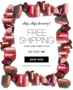 Free shipping with your $25 AVON order through midnight 9/1/16 at youravon.com/mmcquain - use code YAY!