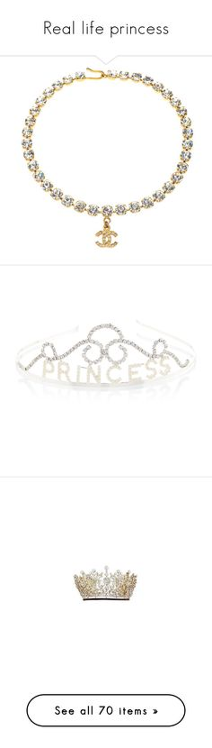 """Real life princess"" by cristinachioseaua ❤ liked on Polyvore featuring jewelry, necklaces, chanel, accessories, chokers, beige, rhinestone necklace, beige choker, pre owned jewelry and rhinestone choker necklace"