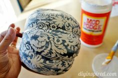 How to decoupage fabric on a pumpkin.