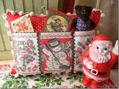 cute idea for old  Christmas tablecloths