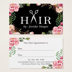 Floral Hair Stylist Logo Beauty Salon Appointment Business Card