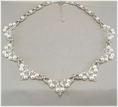 Swarovski Rhinestone Pearl and Crystal Wedding Necklace, Diamante Necklace, Beaded Bridal Scalloped Necklace