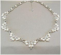 Swarovski Rhinestone Pearl and Crystal Wedding Necklace, Diamante Necklace, Beaded Bridal Scalloped Necklace