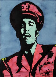 Elvis Presley, Aquarel on Paper, Martin Torsleff, www.pop-art.dk