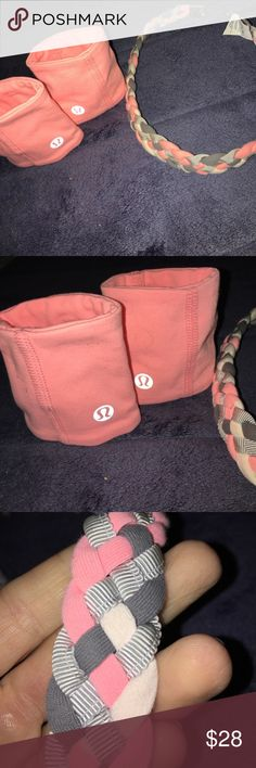 Lululemon Athletic wrist guards and headband Set of 1 pair Lululemon Athletic wrist guards and braided grey and peachy - pink headband for athletic training and sport ! This is such a cute set . Never worn . Perfect condition ! lululemon athletica Other