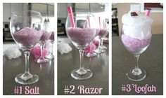 How to make bath sundae with bath salts, razor, bath puff, and a lindor truffle.