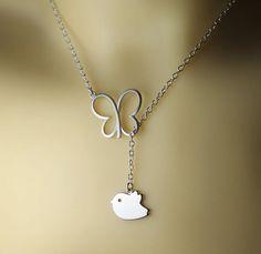 silver butterfly bird necklace