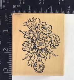 PSX Rubber Stamp Rose Bouquet Vase Floral Flourish Garden Botanical G3005 T679 #PSXDesigns