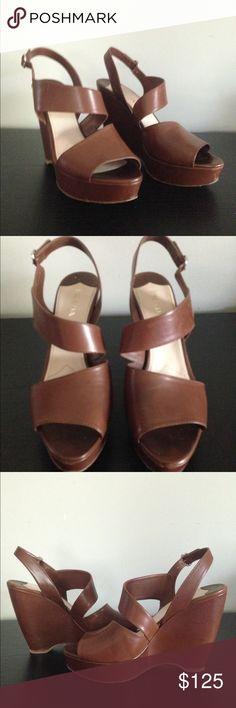 dce464a50 Carmel Leather Prada strappy wedges size US Beautiful strappy wedges from  Prada. Size 41 EU