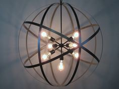 Orb Chandelier Wine Barrel Ceiling Light Industrial Lighting Modern Chandelier  This light steals the show!!! At 30 inches in diameter, whether