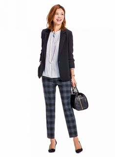 【着まわしday1】黒テーラード×きれい色ブラウス×チェック柄パンツ | ファッション コーディネート | with online on ウーマンエキサイト