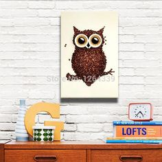 Free shipping Modern Decorative Canvas Picture Coffee Owl Adornment Oil Painting Printed on Canvas for Study Bedroom Wall Decor-in Painting & Calligraphy from Home & Garden on Aliexpress.com   Alibaba Group