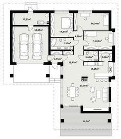 Rzut TP Kreo 2 CE One Floor House Plans, Bungalow House Plans, Ranch House Plans, Dream House Plans, Floor Plans, Home Building Design, Building A House, House Design, Villa Plan