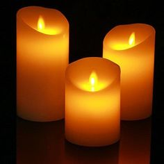 "Homemory Super Realistic Flameless Flickering Electric Pillar Candles Set of 3 Battery Operated LED Candle Height 4"" 5"" 6"" REAL WAX"