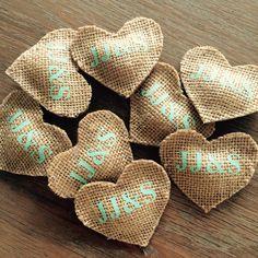 Jute hart corsage met initialen | zowel voor volwassenen als kinderen