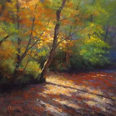 "https://www.facebook.com/MiaFeigelson ""Autumn scene"" By Phil Bates, from Roseburg, Oregon, US (b. 1954) - soft pastel painting - https://www.facebook.com/PRBates"