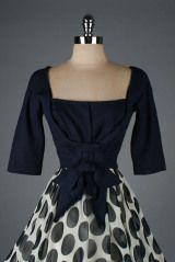 Vintage 1950's Linen Crepe Polka Dot Cocktail Dress thumbnail 3