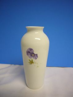 White Glass Vase CollectiblePurple Floral Marjolein Bastin Hallmark Decorative
