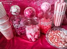 hotel party use mason jars with wrapped decor around them to hold straws, bottle openers, etc. 13th Birthday Parties, Birthday Party For Teens, 14th Birthday, Pink Birthday, Sweet 16 Birthday, Birthday Cake Girls, Birthday Ideas, Birthday Nails, Birthday Gifts
