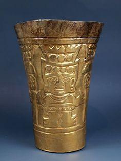 An Impressive Sican High-Karat Gold Kero, Peru 800 CE