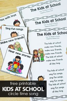 Free Printable Kids at School Back to School Circle Time Song for Preschool and Kindergarten.