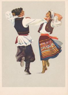 Moldova traditional dance postcard Vintage postcard USSR, traditional costume folk pattern o Folk Costume, Costumes, Costume Ideas, Ballet Russe, Traditional Paint, Folk Dance, Vintage Postcards, Europe, Illustration Art