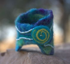 Needle felted spiral cuff bracelet.
