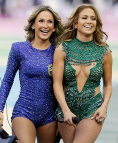 "Claudia Leitte and Jennifer Lopez at Brazil's World Cup opening show singing ""We Are One""."