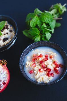 Steel cut oatmeal served two ways. No better way to warm up on chilly winter mornings.