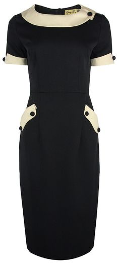 Lindy Bop 'Petite' 'Tiffany' Vintage 50s Black Office Style Wiggle Dress (XXS, Black)