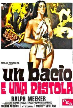 "Italian movie poster for director Robert Aldrich's 1955 film noir ""Kiss Me Deadly"""