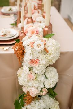 floral table runner // photo by Katelyn James // http://ruffledblog.com/rose-gold-wedding-ideas