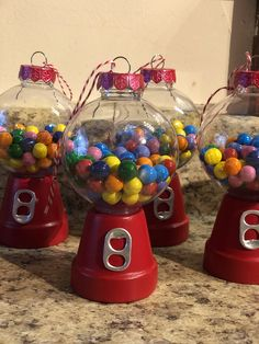 Christmas Ornaments To Make, Handmade Ornaments, How To Make Ornaments, Christmas Projects, Christmas Decorations, Holiday Candy, Holiday Crafts, Plastic Candy Jars, Homemade Christmas Presents