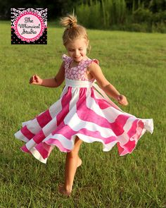 ❘❘❙❙❚❚ ON SALE ❚❚❙❙❘❘ A little girls dream, this unique swirly, twirly dress is sure to put a smile on her face and be her favorite for a long time to come. It's perfe...