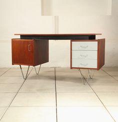 Cees Braakman; Teak, Laminate and Metal Desk for Pastoe, 1958.