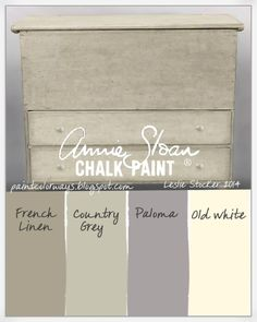 COLORWAYS  A combination of Annie Sloan Chalk Paint® neutrals: French Linen, Country Grey, Old White with touches of Paloma on vintage pine blanket chest. by Kat Vonachen