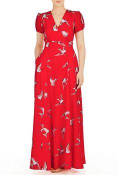 I <3 this Bird print crepe surplice maxi dress from eShakti