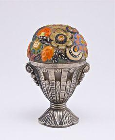 1920 Rochambeau Fleurs Modernes perfume bottle, enameled frost glass, cork, metal holder.