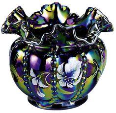 *FENTON ART GLASS ~ Carnival glass, beaded, amethyst, Vase.