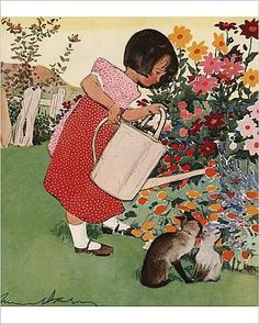Amazon.com: Photographic Print of Little girl watering flowers by Muriel Dawson: Posters & Prints