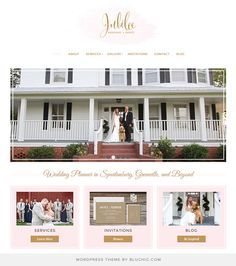 Simply chic website for wedding event planner company. Use Geraldine Theme from Bluchic.