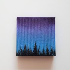 Forest silhouette painting forest at dusk blue purple sky nature painting miniature artwork tiny art forest painting artwork for desk the diary of a forest girl Small Canvas Paintings, Easy Canvas Art, Small Canvas Art, Mini Canvas Art, Nature Paintings, Acrylic Painting Canvas, Canvas Ideas, Blue Canvas, Small Paintings