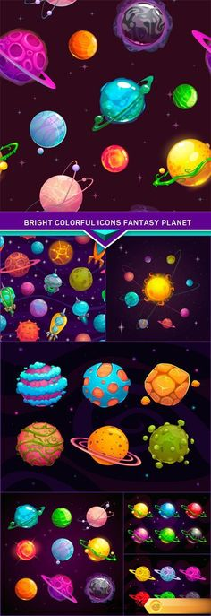 Find your Grapfix Desire With US http://www.desirefx.me/bright-colorful-icons-fantasy-planet-7x-eps/